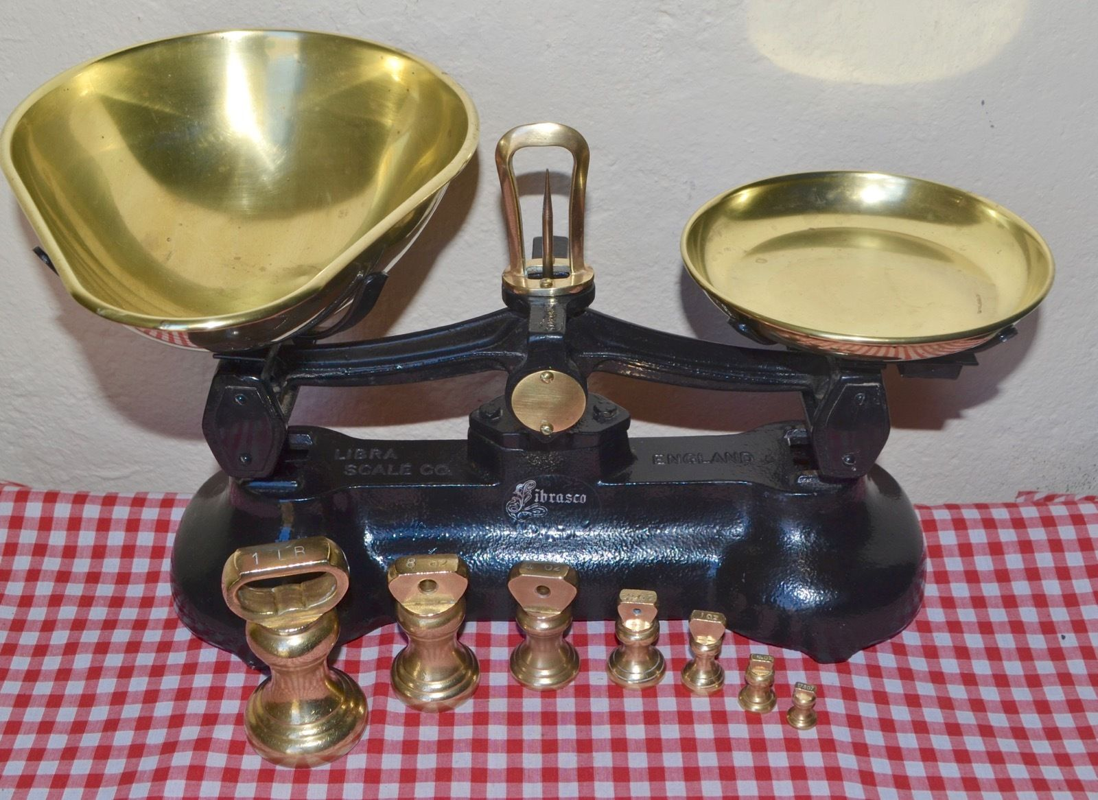 Vintage English Kitchen Scales Librasco 7 Brass Bell Weights